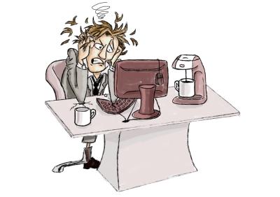 man losing it at desk
